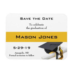 Graduation Save the Date Black Gold Cap Tassel Magnet