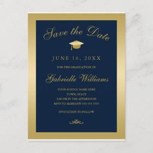 Graduation Save the Date Blue Gold Script Announcement Postcard