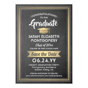Graduation Save the Date Chalkboard Black and Gold Magnetic Invitation