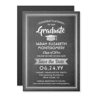 Graduation Save the Date Chalkboard Black & White Magnetic Invitation