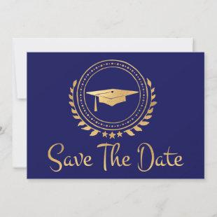 Graduation Save The Date Gold Grad Cap Blue
