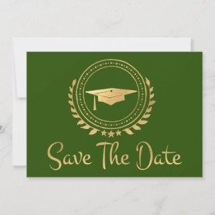 Graduation Save The Date Gold Grad Cap Green