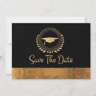 Graduation Save The Date Gold Grad Cap Watercolor