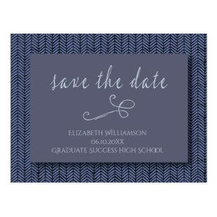 Graduation Save The Date Modern Abstract Blue Postcard