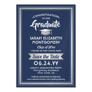 Graduation Save the Date Navy Blue White & Silver Magnetic Invitation