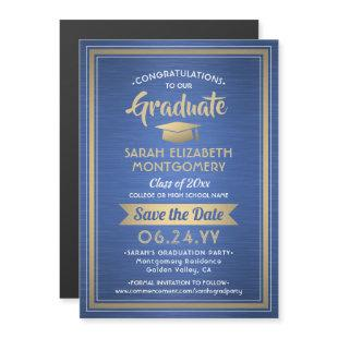 Graduation Save the Date Royal Blue Gold and White Magnetic Invitation