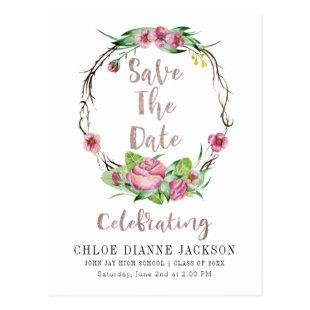 Graduation Save The Date Watercolor Roses Wreath Postcard