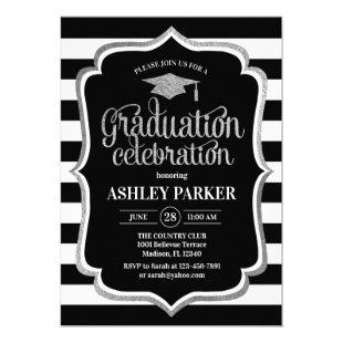 Graduation - Silver Black White Stripes Invitation