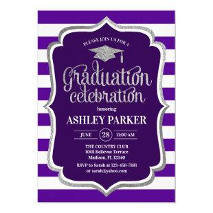 Graduation - Silver Purple White Stripes Invitation