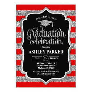 Graduation - Silver Red Black White Stripes Invitation