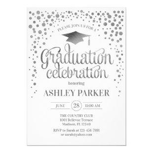 Graduation - Silver White Invitation
