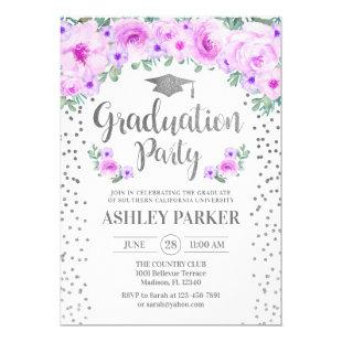 Graduation - Silver White Purple Floral Invitation