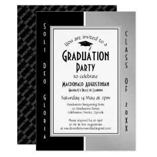 GRADUATION Soli Deo Gloria Black Silver Gray Invitation