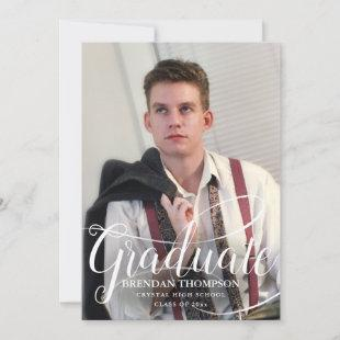 Graduation White Script Typography Photo Gray Announcement