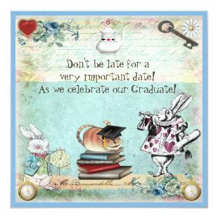 Graduation Wonderland Tea Party Invitation