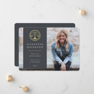 Gray + Gold Law Scales JD Graduation Photo Announcement
