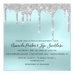 Gray Silver Spark Drips Bridal Wedding Tiffany Magnetic Invitation