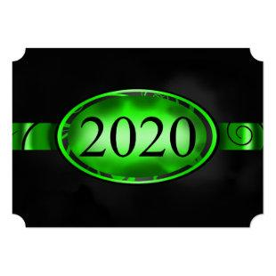 Green and Black Floral Button 2020 Card