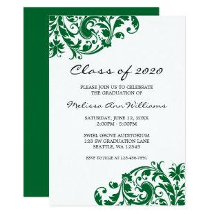 Green and Black Swirl Graduation Announcement