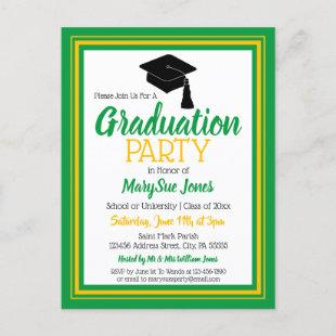 Green and Gold School Colors Grad Party Invitation Postcard
