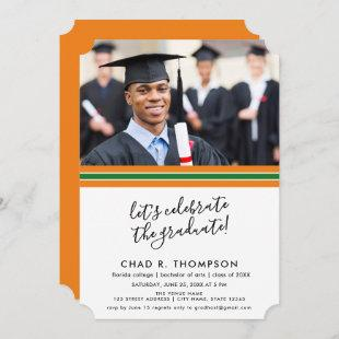 Green and Orange Photo Graduation Invitation