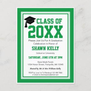 Green and White Graduation Party Invitation Postcard