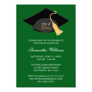 Green Cap and Tassel Graduation Announcement