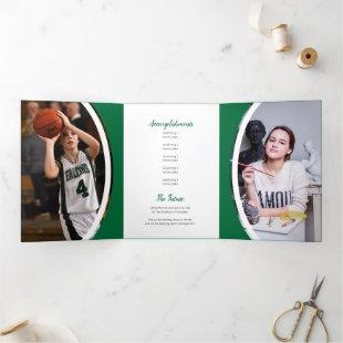 Green Curved Frame Three Photo Graduation Tri-Fold Invitation