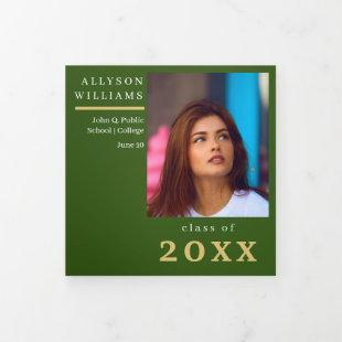 Green Elegant Classy 8 Photo Graduation Tri-Fold Announcement