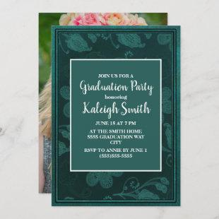 Green Floral White Graduation Party Photo