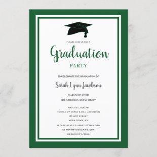 Green Formal Graduation Party Invitation