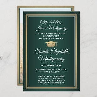 Green Gold and White Photo Graduation Announcement