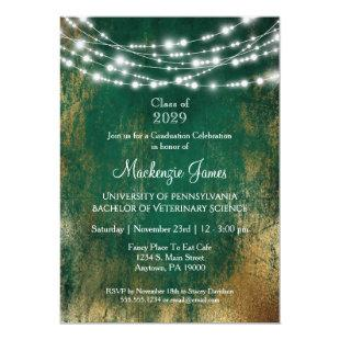 Green Gold Lights Graduation Party Invitation