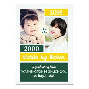 Green Gold School Colors Then and Now Graduation Invitation