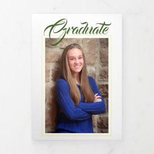 Green &Gold Yellow Photo Graduation Announcement