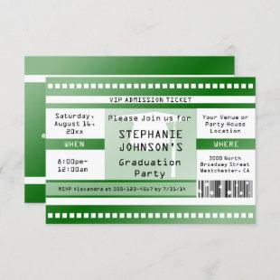 Green Graduation or Party Admission Ticket Invitation