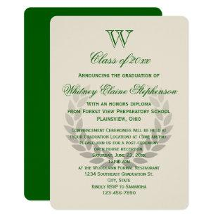 Green Letter Monogram Classic College Graduation Invitation