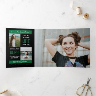 Green Modern Block 5-Photo Graduation Tri-Fold Invitation