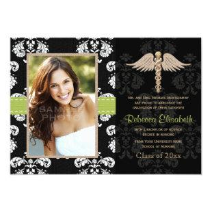 Green Nurse Graduation Announcements Invitations