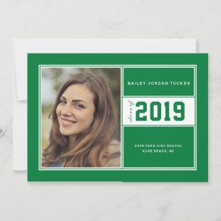 Green Sporty Class of Year Graduation Announcement