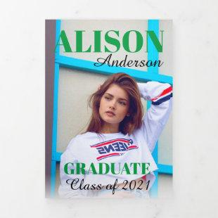 Green typography Class of 2021 graduation photo Tri-Fold Announcement
