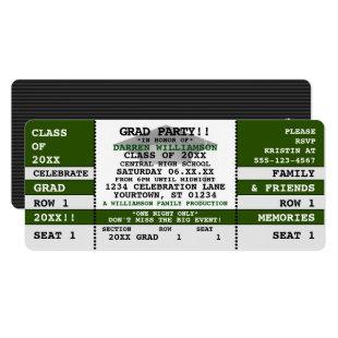 Green|White Concert Ticket Grad Party Invitation