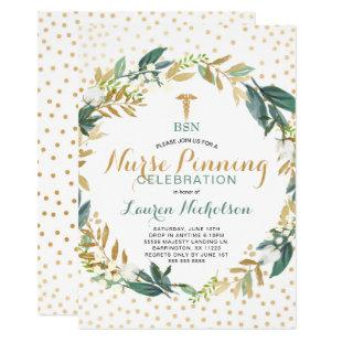 Greenery Confetti Nurse Pinning Graduation Party Invitation