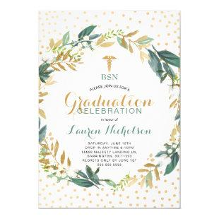 Greenery Confetti Nursing School Graduation Party Invitation