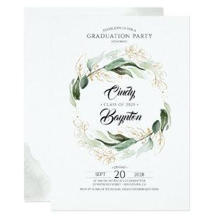 Greenery Foliage and Gold Leaves Graduation Party Invitation