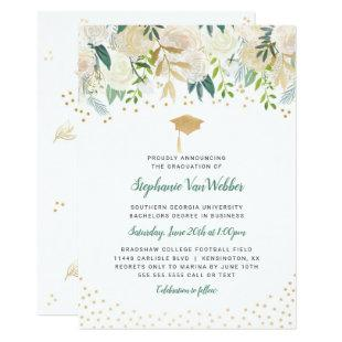 Greenery + Gold Confetti graduation INVITATION