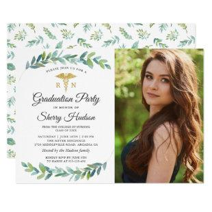 Greenery Gold RN Nursing Graduation Photo Invitation