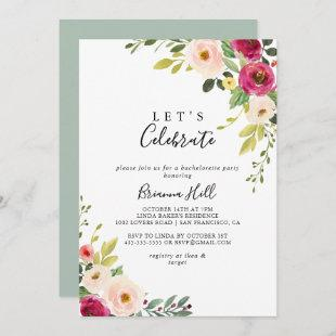 Greenery Pink Blush Floral Let's Celebrate Party Invitation