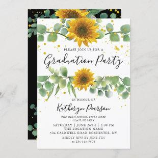 Greenery Sunflowers Graduation Party Invitation