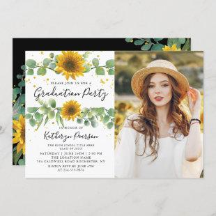 Greenery Sunflowers Graduation Party Photo Invitation